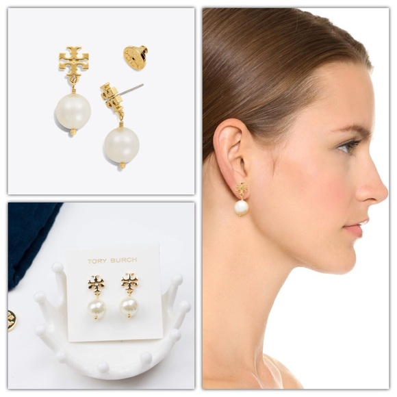 777111dcc5174 Tory Burch Crystal-Pearl Drop Earring NWT